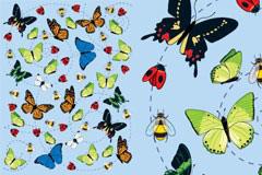 漫天飞舞的彩蝶矢量素材