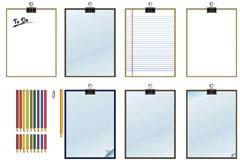 各种彩色铅笔和记录板矢量素材
