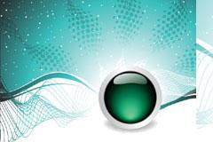 绿色水晶球和动感网状背景矢量素材