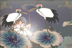 充满中国古典特色的仙鹤荷花图矢量素材