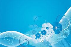 蓝色花朵与动感线条背景矢量素材