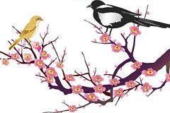 中国古典吉祥图案喜鹊登梅图矢量
