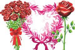 精美的玫瑰花束矢量素材
