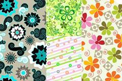 4款清新活泼的花卉背景矢量素材