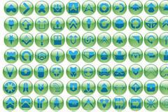 实用绿色水晶按钮图标系列矢量素材