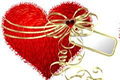 心形毛绒抱枕情人节礼物矢量素材