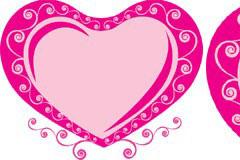 粉红色花边可爱心形矢量素材