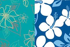 2款清新淡雅的花卉植物背景矢量素材