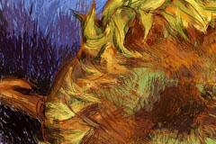 精美向日葵油画矢量素材