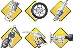 形象生动的汽车配件系列图标矢量素材