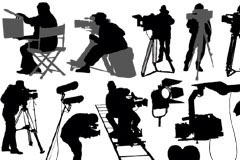片场工作人员人物剪影矢量素材