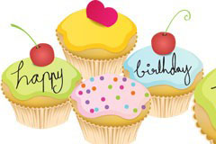 AI格式卡通生日小蛋糕矢量素材
