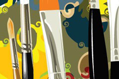 画笔和抽象彩色背景矢量素材