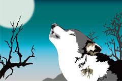 月圆之夜的狼矢量素材