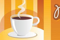 一杯浓浓的热咖啡矢量素材