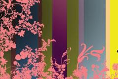 花草昆虫剪影与彩色条纹背景矢量素材