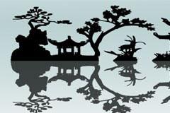 一款古典风格中国庭院剪影矢量素材