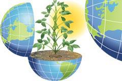 地球和绿色植物矢量素材