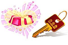 钥匙和心形礼物矢量素材