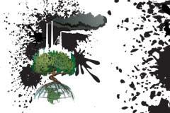 一款反应环境污染主题的插画矢量素材