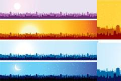 几款不同色调的城市剪影banner矢量素材