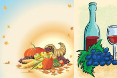3款红酒与水果矢量素材