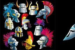 各种各样的古代武士头盔矢量素材