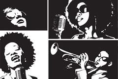 黑人女歌星黑白插画矢量素材