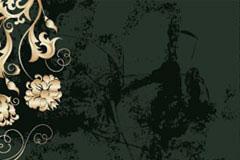 欧式华丽花卉花纹与肌理背景矢量素材