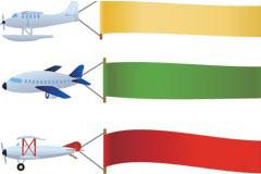 飞机和广告条幅矢量素材