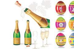 复活节彩蛋和香槟矢量素材