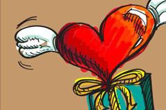 飞翔的心情人节元素矢量素材