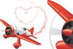 喷出心形烟雾的飞机矢量素材