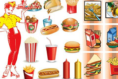 快餐食品图标矢量素材