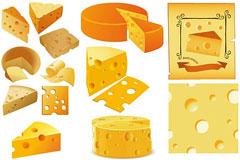 各种形状的奶酪矢量素材