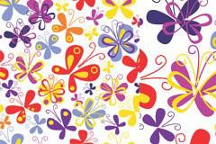 色彩缤纷的手绘蝴蝶背景矢量素材