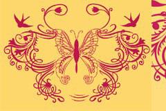 一款蝴蝶花纹和燕子剪影矢量素材