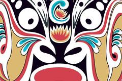中国风情马勺脸谱矢量素材