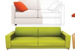 四款漂亮的沙发矢量素材