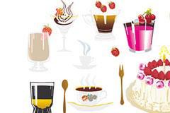 各种诱人的蛋糕和饮品矢量素材
