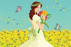 花丛中甜蜜美丽的新娘矢量素材