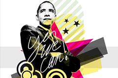 奥巴马肖像矢量素材