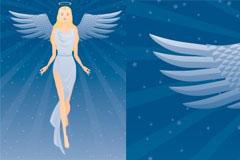 美丽天使和放射线背景矢量素材