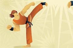 跆拳道运动卡通人物矢量素材