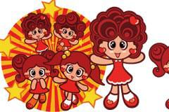 卡通可爱小女孩矢量素材