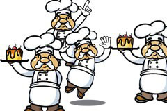 可爱卡通国外蛋糕师矢量素材