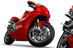 一款漂亮的AI格式红色摩托车矢量素材