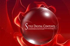 红色质感水晶球与梦幻线条背景矢量素材
