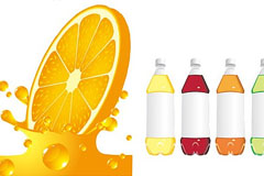 动感橙汁与饮料瓶矢量素材