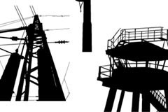 电力设施剪影矢量素材